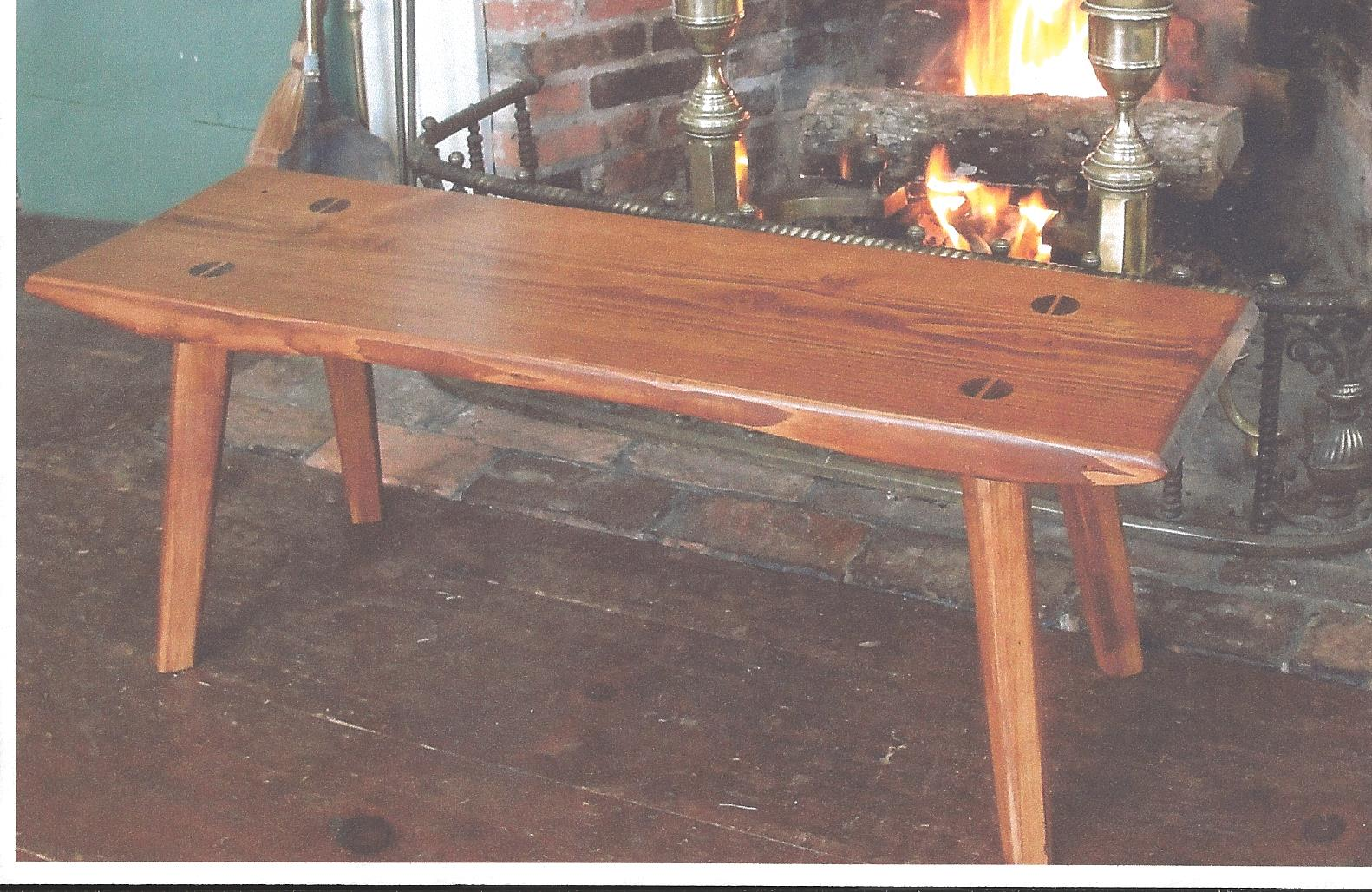 Coffee Table made from rough cut oak, rough cut pine